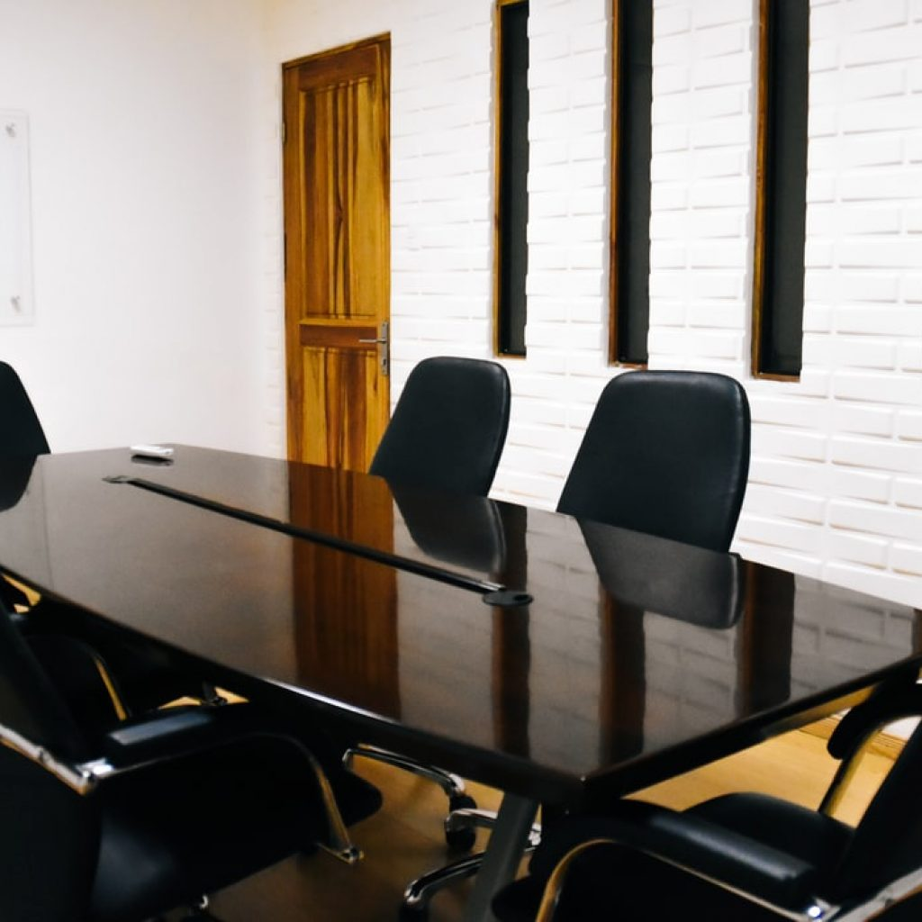 a conference room with chairs