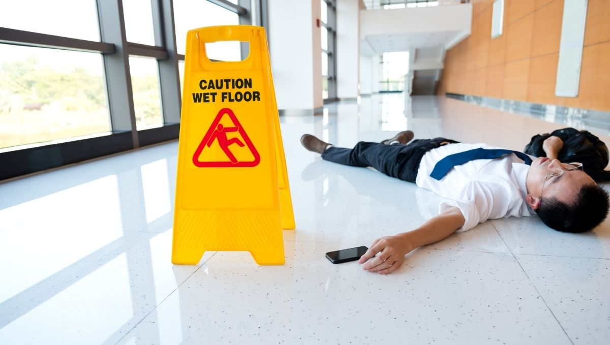 A Slip and Fall Lawyer can help you if you are like this man who has slipped at work on the ground